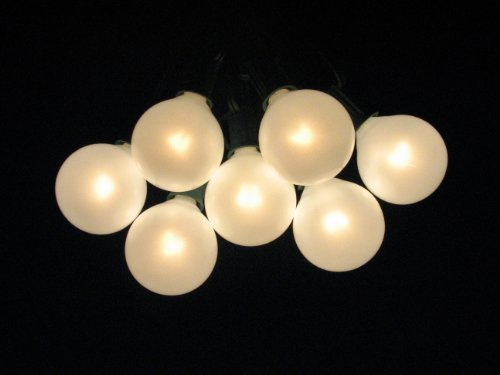 Pearl String Lights Red White Green : Shop for 100 Foot Globe Patio String Lights - Set of 100 G50 Pearl White Bulbs with Green Cord