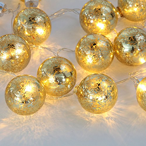 Gold Mercury String Lights : Shop for Set of of 20 Gold Speckled Mercury Glass Decorative Globe Battery String Lights with ...